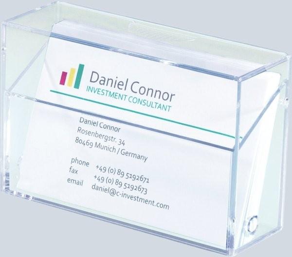 glasklar Acryl SIGEL VA112 Visitenkarten-Box für 80 Karten