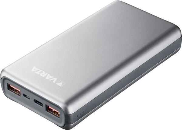 Powerbank, Fast Energy, 5V, 20.000mAh, Li-Polymer, grau, 2 x USB Typ-A,