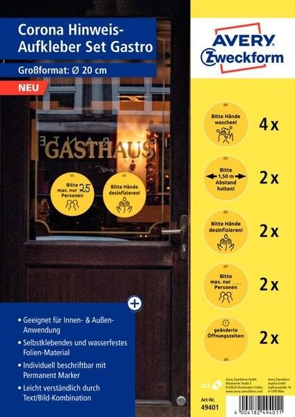 Corona Hinweis-Aufkleber Set Gastro wetterfeste Folie, Innen-/Außenbereich