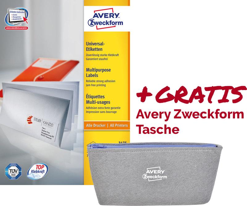 Avery Zweckform Etikett 70x36 mm, weiß (+GRATISTasche)