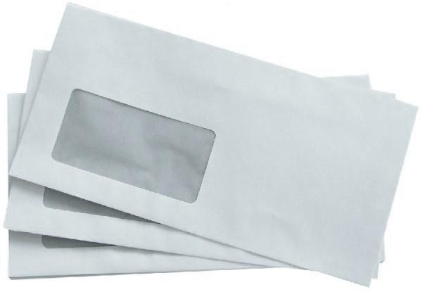 Büroring Briefumschlag, DIN Lang, mit Fenster selbstklebend, weiß, 75g