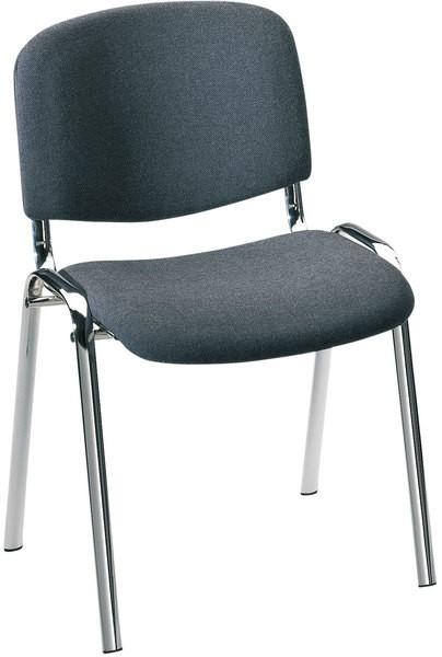Besucherstuhl mit Chromgestell, ant. gepolsterte Sitz- und Rückfläche