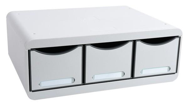 Toolbox 3 Schübe schmal und hoch, lichtgrau, mit Beschriftungsschildern