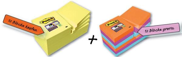 Post-it Super Sticky Notes 12 Bl. in gelb 48x48 mm + 12 Blöcke Super Sticky