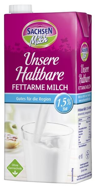 Sachsen H-Milch, 1,5 % 1 Liter mit Schraubverschluss, ultrahocherhitzt