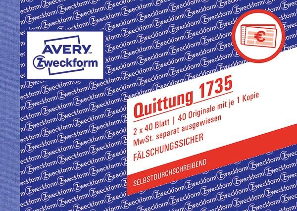 Quittung m. MwSt A6 quer SD 2 x 40Blatt