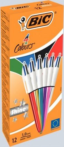 4-Farb-Kugelschreiber Shine, sortiert, 0,4 mm