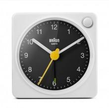 Quarzwecker weiß/schwarz, Uhrwerk leise und präzise, leuchtende Zeiger