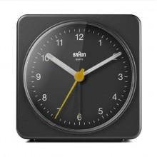 Quarzwecker analog schwarz, Uhrwerk leise und präzise, leuchtende Zeiger