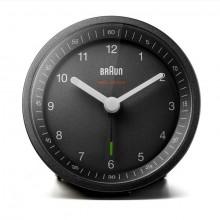 Funkwecker schwarz, präzises Uhrwerk leuchtende Zeiger, Crescendo-Alarm