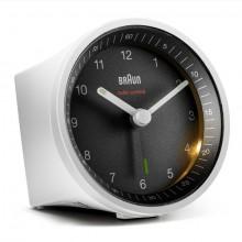 Funkwecker weiß/schwarz, präzises Uhrwerk, leuchtende Zeiger, Crescendo-