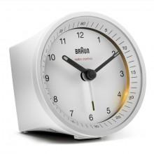 Funkwecker weiß, präzises Uhrwerk leuchtende Zeiger, Crescendo-Alarm