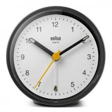 Quarzwecker schwarz/weiß, Uhrwerk leise und präzise, Crescendo-Alarm
