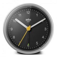 Quarzwecker silber/schwarz, Uhrwerk leise und präzise, Crescendo-Alarm