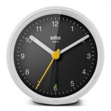 Quarzwecker weiß/schwarz, Uhrwerk leise und präzise, Crescendo-Alarm
