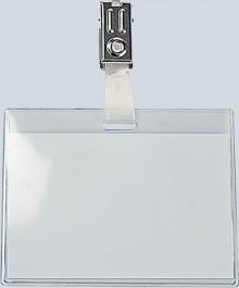 Büroring Namensschild mit Clip, 60x90mm Vordertasche halbhoch(30mm)