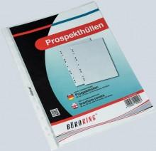 Büroring Prospekthülle, A4, 80my, PP-Folie, glasklar, oben+links offen