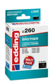 Edding Tinte 260 TwinPack Brother LC970, 1000 black, Ersetzt: Brother