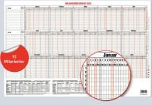 Urlaubsübersicht für 15 Mitarbeiter 2020 46x30cm, 15 Monate