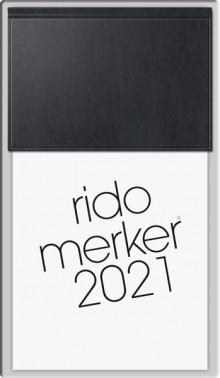 Tischkalender Merker, 1 Tag pro Seite, 2021, 10,8 x 20,1 cm, schwarz