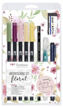 Watercoloring Set, Floral, 5 farbige Brush Pens, 1 Wassertankpinsel