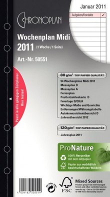 Chronoplan Wochenplan Midi 2021 1 Woche/1 Seite Anordnung in Zeilen