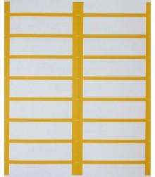 Weiße Beschriftungsetiketten auf A4-Bogen mit Farbrand, chamois.