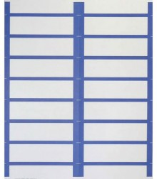 Weiße Beschriftungsetiketten auf A4-Bogen mit Farbrand, dunkelblau.