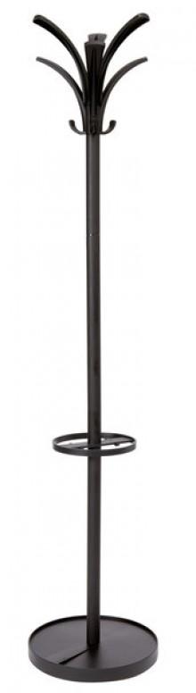 Garderobenständer 175cm schwarz 6 Kleiderhaken, Schirmständer, Stahl