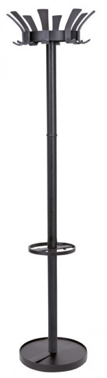 Garderobenständer 176cm, schwarz 8 Kleiderhaken Kunststoff, drehbarer