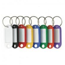 Schlüsselanhänger, dunkelblau mit beschriftbaren Etiketten