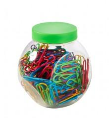 Briefklammern sortiert Neon, 26mm 200er Dose, plastiküberzogen, rund,