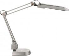 Schreibtischleuchte mit Doppelarm und Standfuß, silber