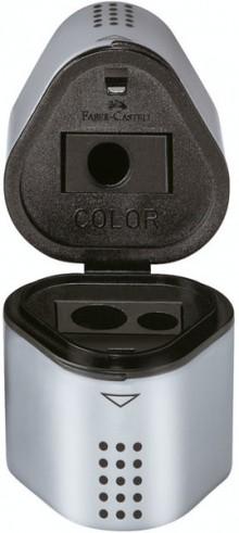 Faber-Castell Dreifachspitzdose Grip 2001, silber für Blei- und Farbstifte, Standard