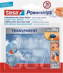 Powerstrips Deco-Haken, transparent, small, für bis zu 200 g