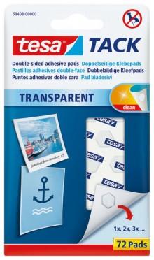 TAC Doppelseitige Klebepads, transparent, wiederverwendbar