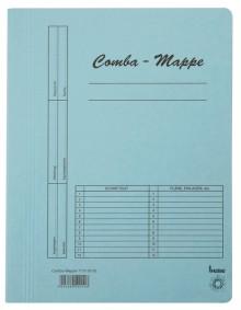 Combamappe A4, 250g, blau, mit Heftmechanik und 3 Flügeln