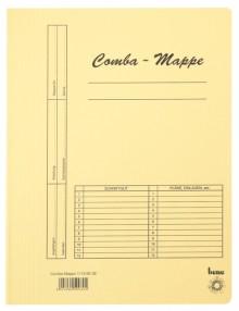 Combamappe A4, 250g, gelb, mit Heftmechanik und 3 Flügeln