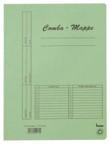 Combamappe A4, 250g, grün, mit Heftmechanik und 3 Flügeln
