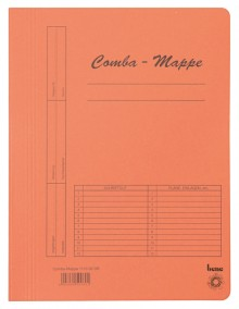 Combamappe A4, 250g, orange, mit Heftmechanik und 3 Flügeln