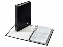 Visitenkartenbuch schwarz, 4-Ring- Mechanik, mit Register u. Visiten-