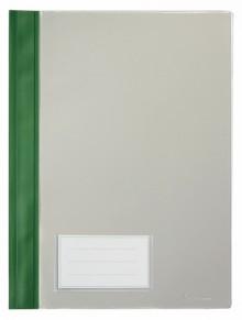 Schnellhefter A4, mit Einsteckfach, grün, transparenter Deckel, PVC