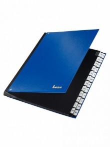 Pultordner, PP, A-Z, 24 Fächer, blau, dehnbarer Rücken