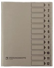 Ordnungsmappe, 12 Fächer, grau, A4, Mappe - Karton 250 g/m2, mit