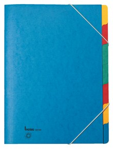 Ordnungsmappe, 7 Fächer, blau, A4, Chartreuse-Karton 390 g/m2