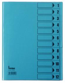 Ordnungsmappe, 12 Fächer, blau, A4, Mappe - Karton 210 g/m2, mit