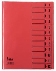 Ordnungsmappe, 12 Fächer, rot, A4, Mappe - Karton 250 g/m2, mit