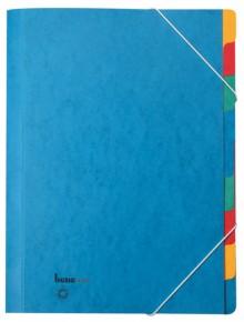 Ordnungsmappe, 9 Fächer, blau, A4, Chartreuse-Karton 390 g/m2