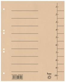 Trennblätter, A4, chamois, Recycling-Karton 250g/m2