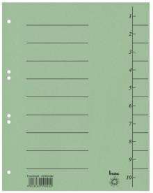 Trennblätter, A4, grün, Recycling-Karton 250g/m2